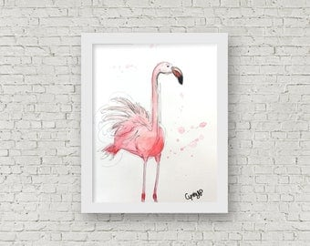 ORIGINAL - Flamingo, Watercolor, 11x15 inches