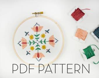Floral Mandala Embroidery Pattern // PDF Pattern // Digital download