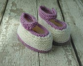 Hand Knitted Baby Shoes Crib Shoes Bootees Wool Rich 3 months New baby Cream and Lilac with button UK Seller Ready to Ship