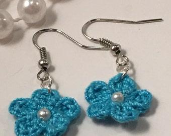 Dangle Earrings Blue Floral Crochet