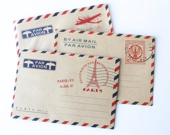 Air Mail envelopes/Par Avion  pack of 5/Snail Mail Envelopes thank you notes/ Travel wedding wishes idea