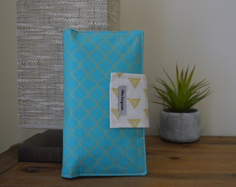 Sale! Nappy wallet, diaper clutch, blue & golden metalic