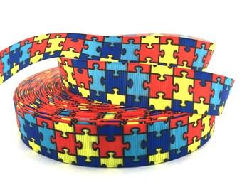 Autism Ribbon, Autism Awareness, Puzzle Ribbon, awareness Ribbon, Awareness Grosgrain, Autism grosgrain, Autism Scrapbook, Puzzle grosgrain