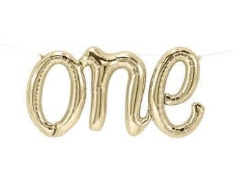 """One Script Foil Balloon- First Birthday- White Gold-Mylar 30"""", Air Fill Balloon Birthday Balloon, Gender Neutral Decor, Cake smash"""