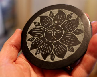 Black Flower/Sun - Stone Incense Holder
