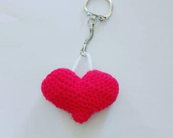 My crochet heart keychain