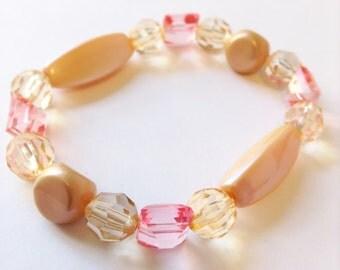 Peach Acrylic Beaded Bracelet