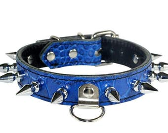 Blue BDSM Collar, Spiked Blue Leather Human Collar, Blue Human Collar, Blue Gator Embossed Leather Collar with Spikes, Spiked BDSM Collar