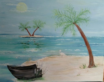 Ocean Beach with palm trees on island boat sand from Florida keys mixed in paint wrapped oil on canvas 16 x 20