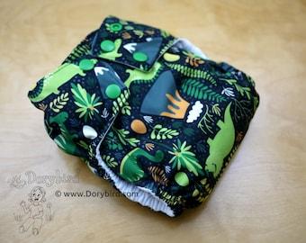 Cloth diaper - Medium (14-26 lbs.) - Handmade WAHM sized cloth diaper - Dinosaurs  - AIO diaper - modern cloth - stegosaurus and tricerotops
