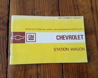 1971 Chevrolet Station Wagon Owners Manual, Operating, Safety, Maintenanace
