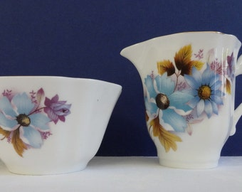 Royal Grafton Fine Bone China Creamer & Sugar Bowl Blue Flowers