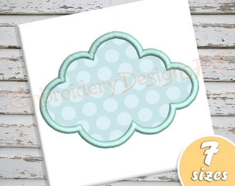 Cloud Applique Design - 7 sizes - Machine Embroidery Design File