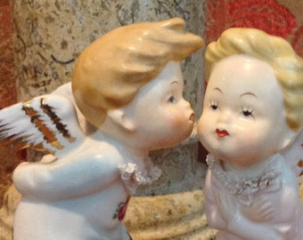 "Bond Ware Kissing Angel Children Porcelain Figurines, signed ""L & M"""