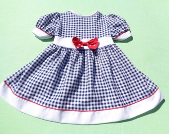 vintage roanna made in united states girls dress size 3t see measurements blue white check red white polka dot bow red piping dress only