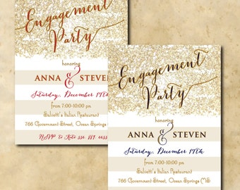 Gold Engagement Party Invitation printable/digital, red, navy, glitter, wedding,calligraphy/Digital File/wording and colors can be changed