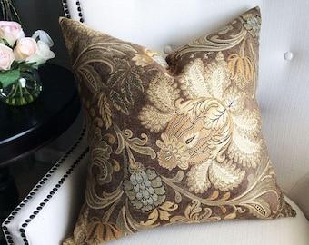 Brown Bronze Tan Decorative pillow cover, Throw pillow, Cusion, Floral Pillow Cover, Damask accent pillow, 20x20 pillow