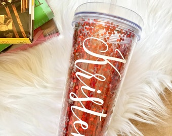 Personalized Red Confetti Tumbler, Red Glitter Cup, Monogrammed Tumbler, Personalized Tumbler, Valentine's Day Gift, Glitter Dipped, 22oz