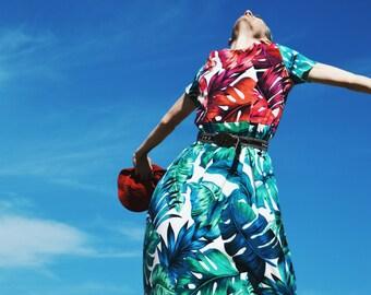 Leaf Leaves Dress, Drop Waist, Vintage inspired,