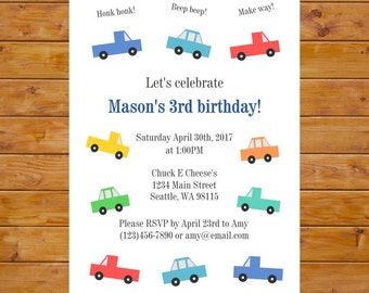 Car and Truck Birthday Invitation - Transportation Invitation - Boy Birthday Party - Printable, Custom, Digital File
