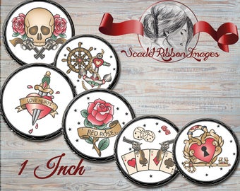 TATTOO Design Images-  Old school tattoos  Bottle cap size - 1 inch circles 600dpi Collage Sheet, glass pendants, Label, Cupcake topper, Tag