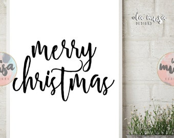 MERRY CHRISTMAS Printable Sign {Instant Download} {Printable} {Script} {Xmas} {PARTY}