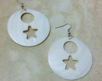 Moon Star Circular Shell Dangle Drop Earrings 2 Inches