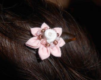 Pale pink Kanzashi Barrette - handmade
