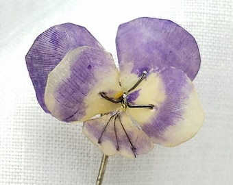 Vintage RARE Handmade Purple Pansy Johnny Jump Up Violet Stick Pin Hat Pin