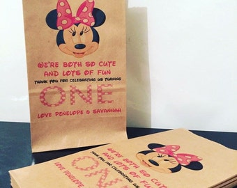 Personalised Stand Kraft Paper Bags Minnie Mouse or Mickey Mouse Disney Birthday Party Lolly Favour Gift Bag
