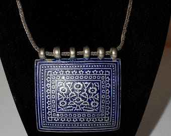 Antique Afghan Square Work Pendant