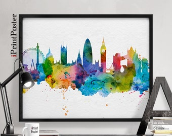 London art, London poster, London skyline art print, London print, London wall art, Home Decor, Travel decor, Art prints, iPrintPoster