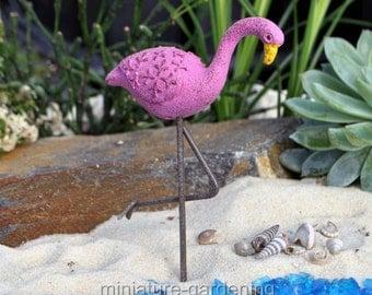 Flamingo Pick for Miniature Garden, Fairy Garden