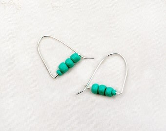 Silver Hoop Earrings. Silver Jewelry. Turquoise Hue Bead Earrings. Teal Earrings. Cute Earrings Handmade Jewely Made in Israel Free Shipping