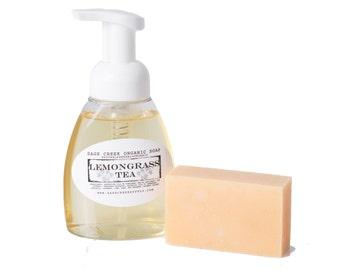 Lemongrass Tea Foaming Soap and Organic Bar Soap, Cold Process, Organic, Vegan, Gift Set