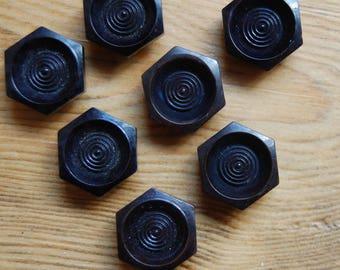 1930's Art Deco Vintage Mahogany Black Hexagonal Casein BUTTONS 1.5cm - Unused