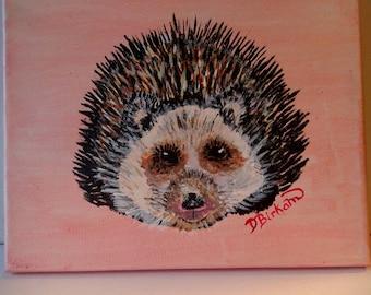 Hedgehog baby hedgehog acrylic painting cotton rolled canvas original artwork