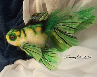 OOAK -Electric Green fantasy Gold Fish