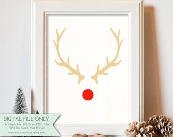 Antlers & Red Nose Printable - Rudolph Print - Reindeer Print - Christmas Printable -  INSTANT DOWNLOAD Digital File Only {8x10}