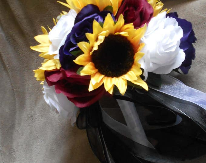 Fall  bridal wedding set 14 sunflowwers and roses yellow, purple  black and white