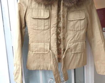 Girls beige Escada coat jacket with fur collar