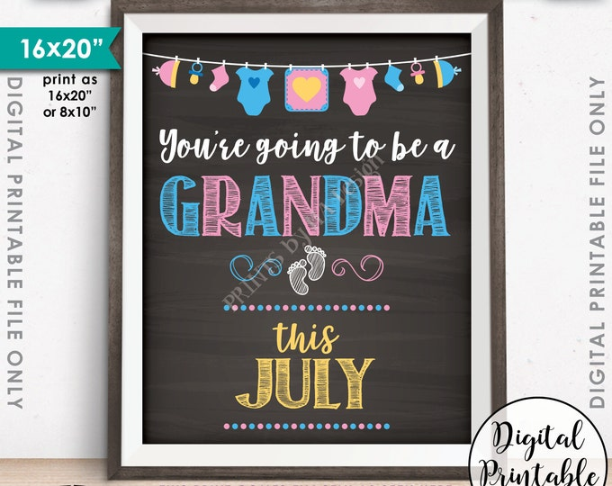 "Going to be a Grandma in JULY, Grandma Announcement, Nana, Pregnant Expecting, Chalkboard Style PRINTABLE 8x10/16x20"" Instant Download Sign"