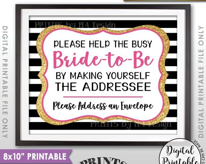 """Address Envelope Bridal Shower Sign Addressee Help the Bride, Address an Envelope Black Pink & Gold Glitter Printable 8x10"""" Instant Download"""