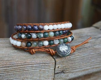 Beaded Leather Wrap Bracelet, Chan Luu Style Long Wrap Bracelet Beach Bracelet Boho Bracelet Mother's Day Gift for Her