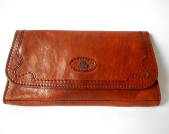 Vintage The Tramp Clutch, Leather Brown Clutch, Genuine  Leather Clutch Bag