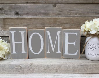 Home Sign, Wood Home Blocks, Distressed Home Decor, Home Decor, Rustic Wood Sign,Shelf Sitter Blocks,Hand Painted and Distressed Wood Blocks