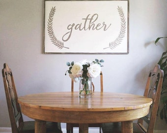 Gather Sign - Painted Wooden Sign