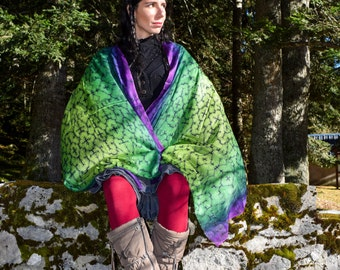 Cashmere Green Shipibo scarves, fashion scarves, winter scarves, sacred geometry, cashmere, shawls, Ayahuasca scarves, psychedelic scarf