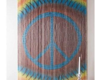 Bamboo Beaded Curtain Tie Dye Boho Bohemian Peace Sign