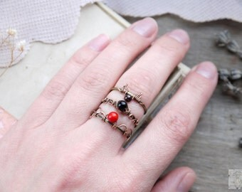 Set rings copper patina wire wrap boho style natural stone coral agate Fantasy ring wire wrapping Copper Jewelry handmade Gift for women